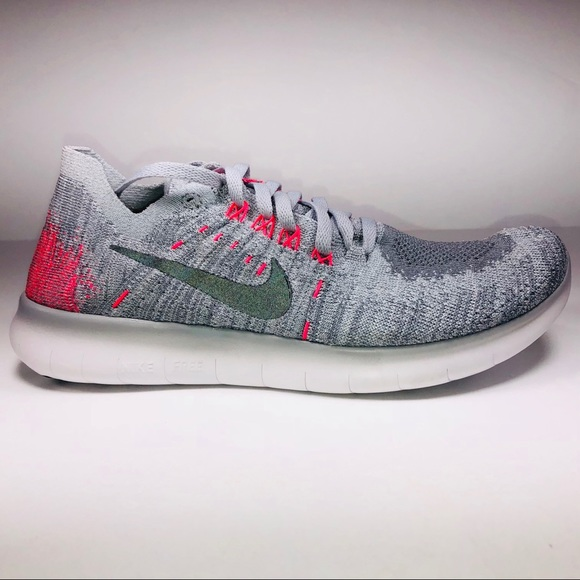 932041fee941c Nike Free Run Flyknit GS Grey Pink Athletic Shoes